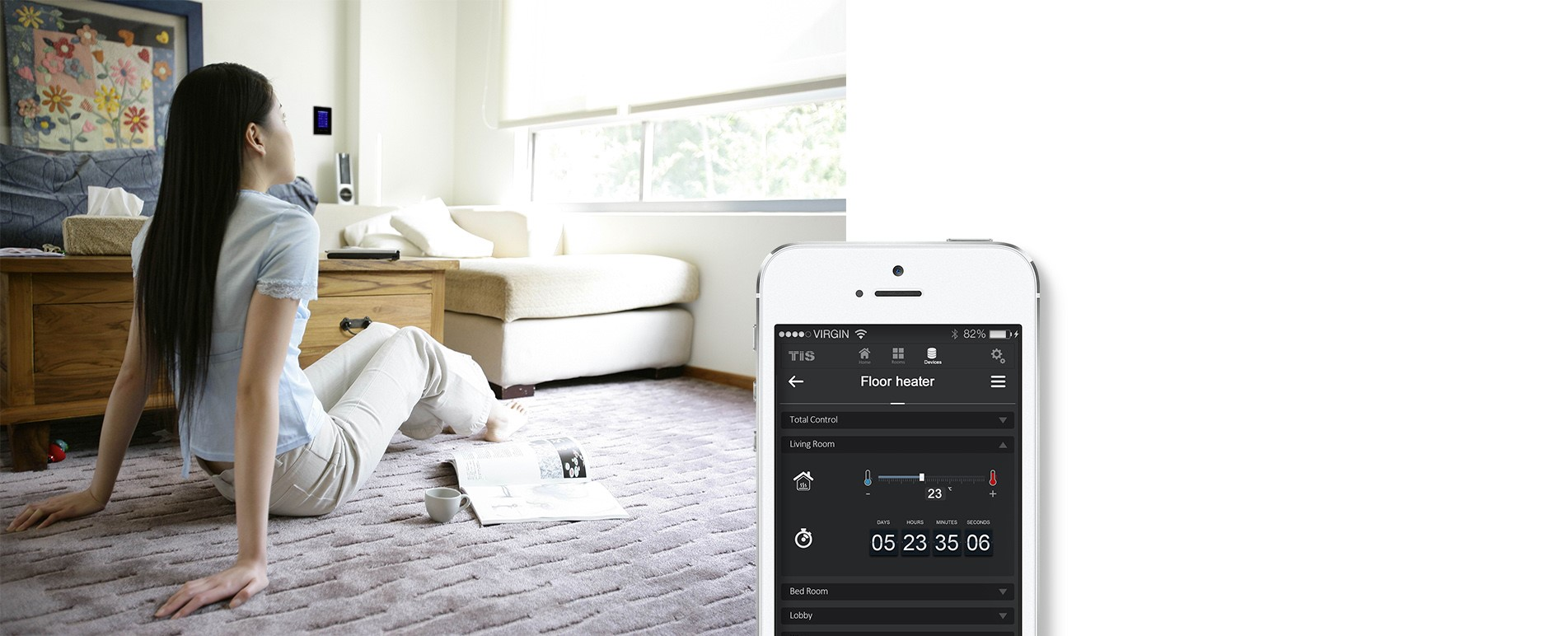 Control your floor heating  by smart home apps. TIS Automatin