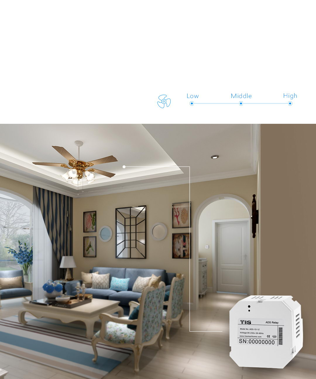 control your ceiling fan by a single press from apps – TIS