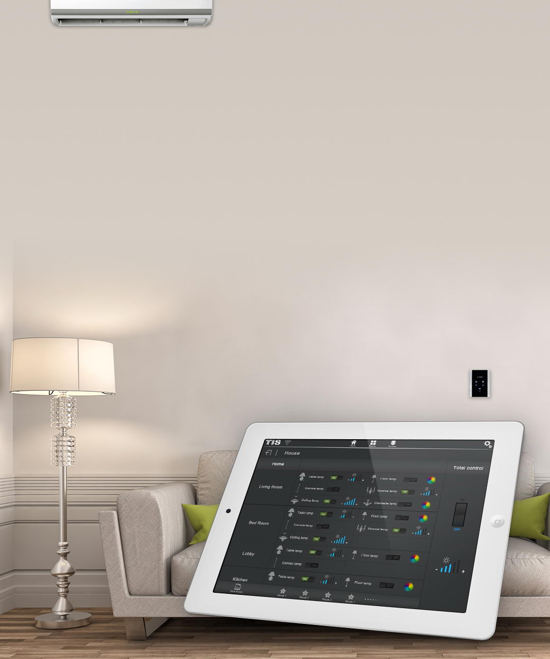 Control your room temperature remotely by TIS smart apps