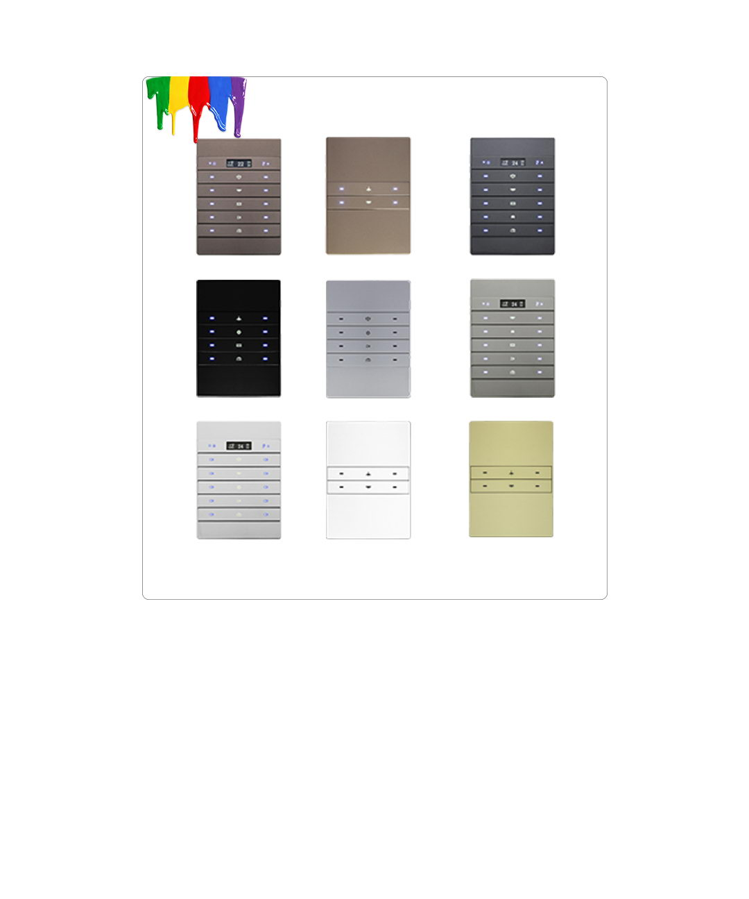 Different wall switch colors like silver champagne , black white bronze and more